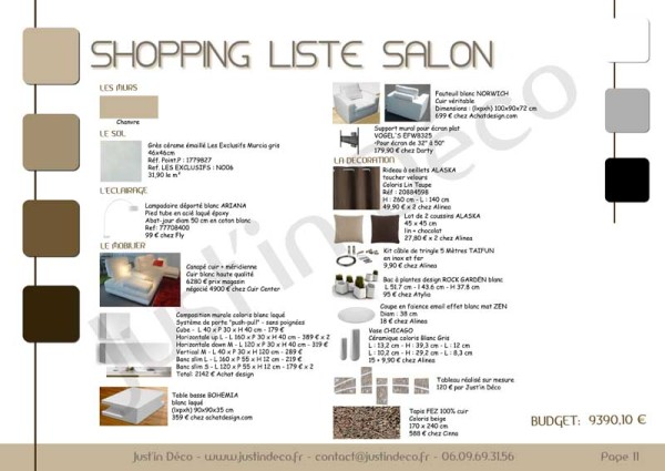 Décoration salon shopping liste