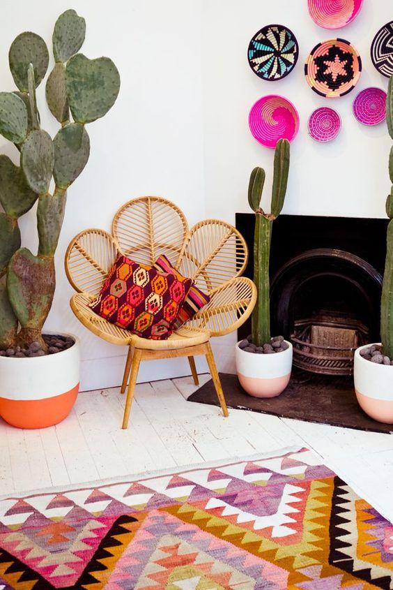 tapis et coussins colorés style boho