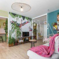 papier peint tropical izoa posé par décoratrice espace d'envie