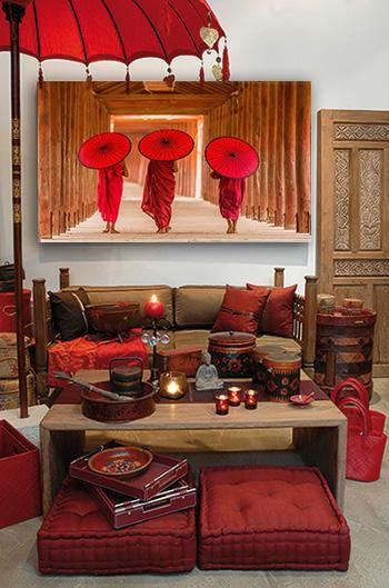 Décoration murale asiatique rouge