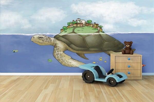 """Papier peint enfant """"Village de la tortue"""" par Izoa"""