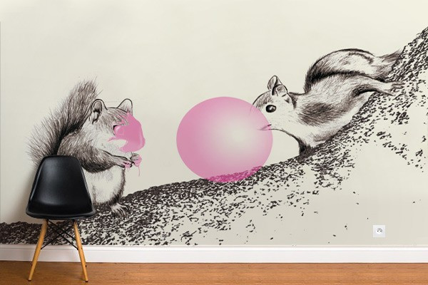 papier peint intissé écureuil gum par Izoa