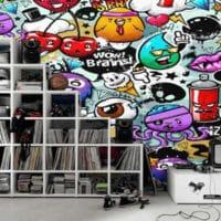 """Papier peint """"Graffiti personnages"""" par Izoa"""