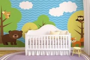 papier peint intissé chambre anfant animaux foret