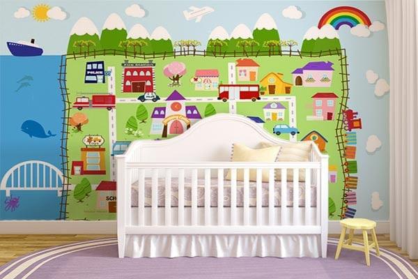 papier peint intissé chambre enfant ville