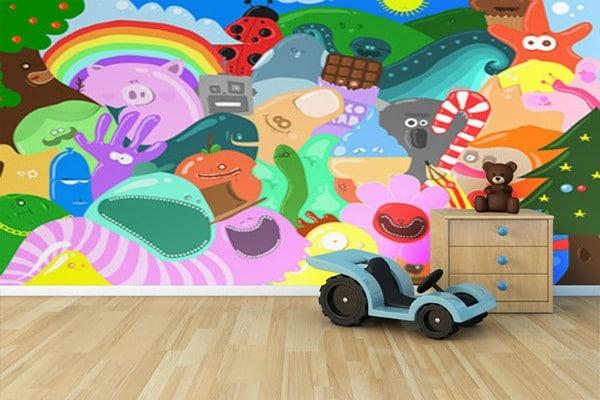 tapisserie chambre enfant montres colorés