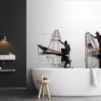 papier peint salle de bain déco asiatique