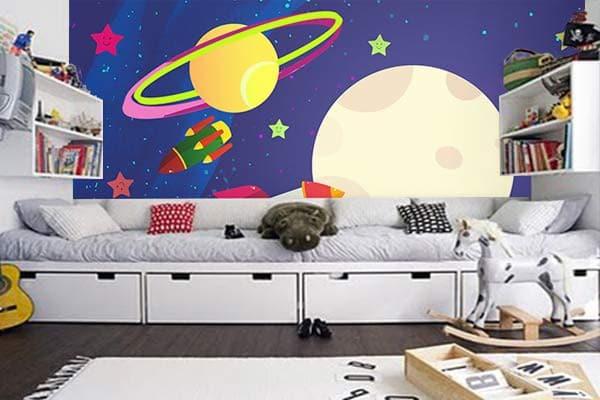 """Papier peint enfant """"Spicy space"""" par Izoa, parfait pour ceux qui ont la tête dans les nuages"""