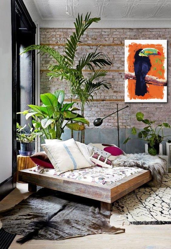 tableau toile-imprimée-toucan-deco-tropicale