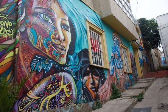 Fresque murale à Valparaiso, au Chili.