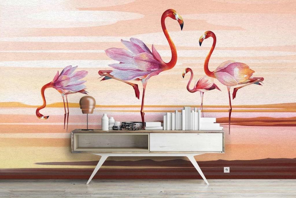 papier peint intiss tropical et tableau moderne flamants. Black Bedroom Furniture Sets. Home Design Ideas