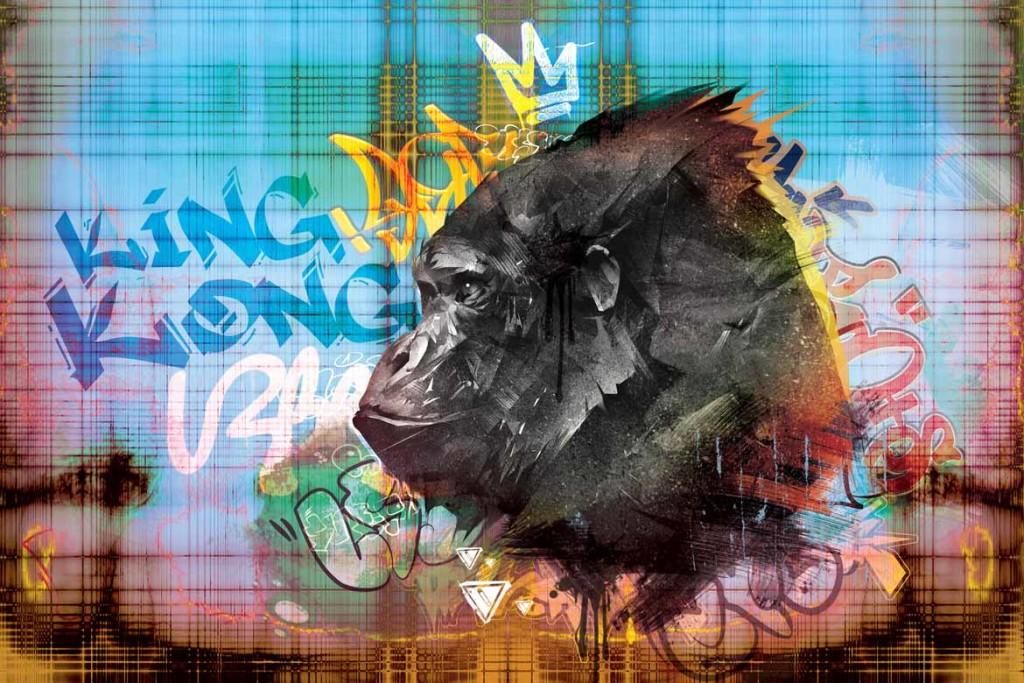 papier peint intissé gorille graffiti