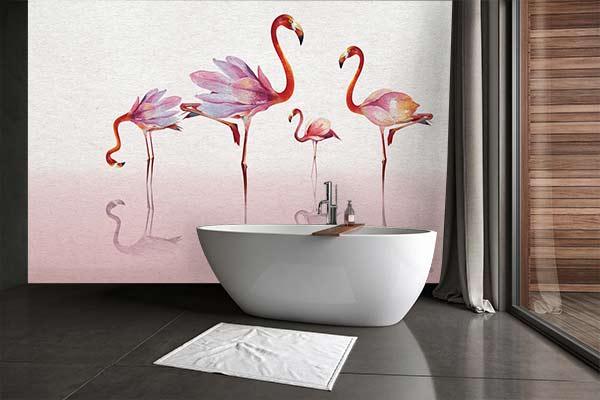 papier-peint-salle-de-bain-flamant-rose-izoa