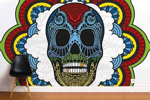 papier peint moderne crane coloré by Izoa