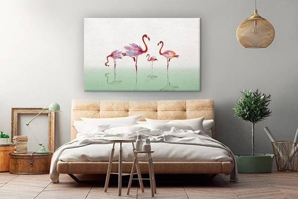 tableau-decoration-chambre-zen-flamant-rose-vert