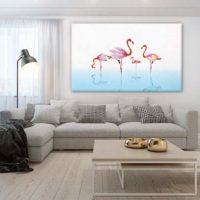 Papier peint intissé tropical et tableau moderne Flamants rose Magnolia