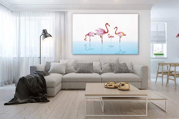 tableau-grand-format-flamant-rose-bleu-ciel