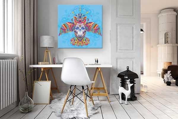 """Tableau moderne coloré """"Hibou aztèque"""" par Izoa"""