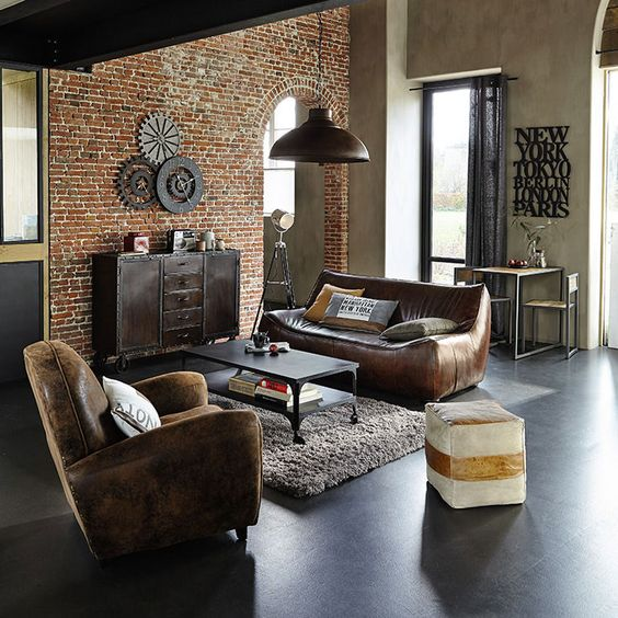 décoration salon tendance industrielle