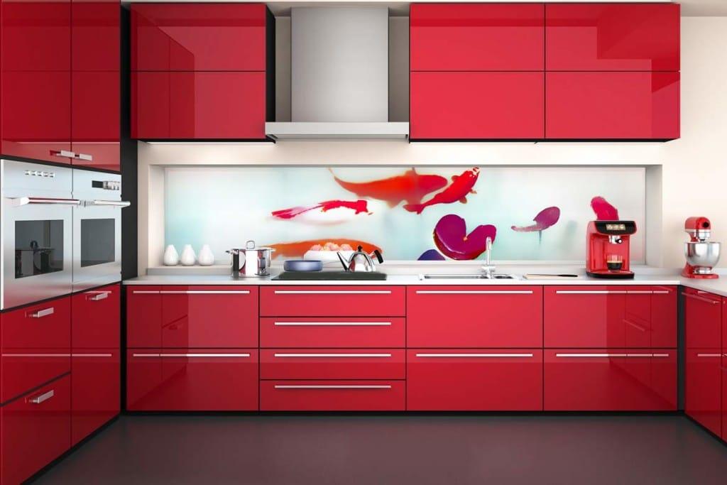 crédence design cuisine rouge