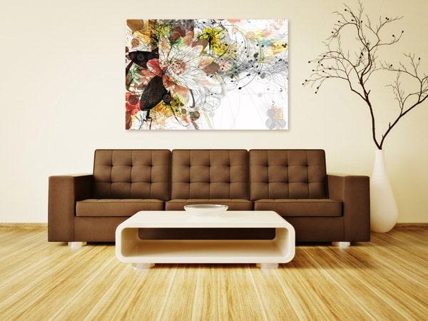 tableaux modernes pour salon fleur Ethnique marron Izoa