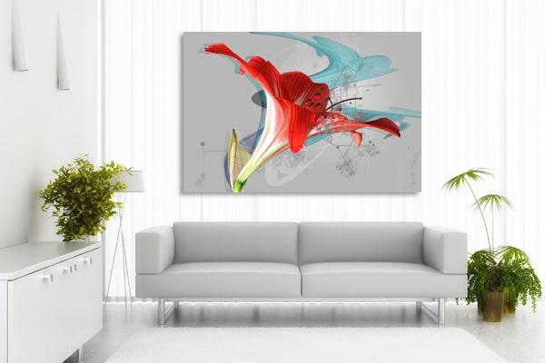 tableau fleur trompette rouge izoa