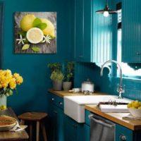 décoration cuisine bleue