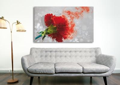 tableau fleur rouge oeillet izoa