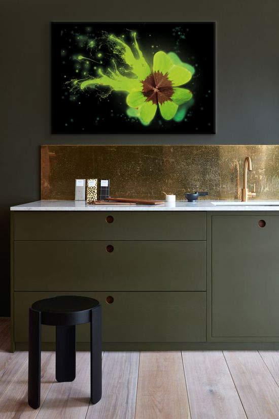 décoration cuisine moderne kaki