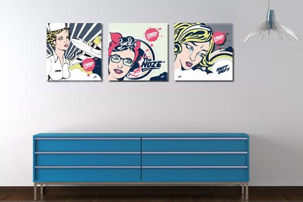 tableau triptyque moderne pop art izoa