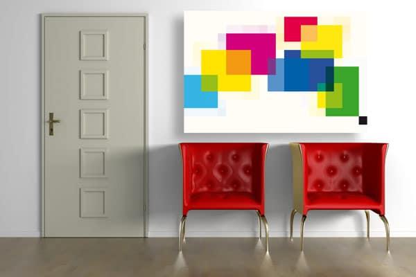 Tableau 3d carrés de couleurs