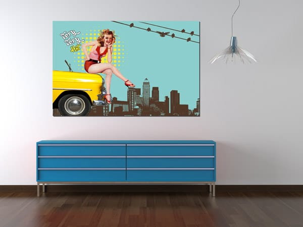 Toile pop art vintage hey taxi