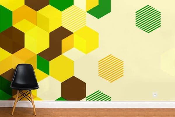 tapisserie géométrique jaune