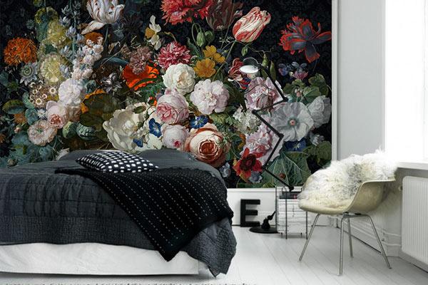 décoration chambre papier peint fleurs