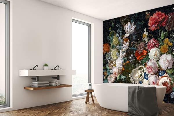 papier-peint-salle-de-bain-fleuri