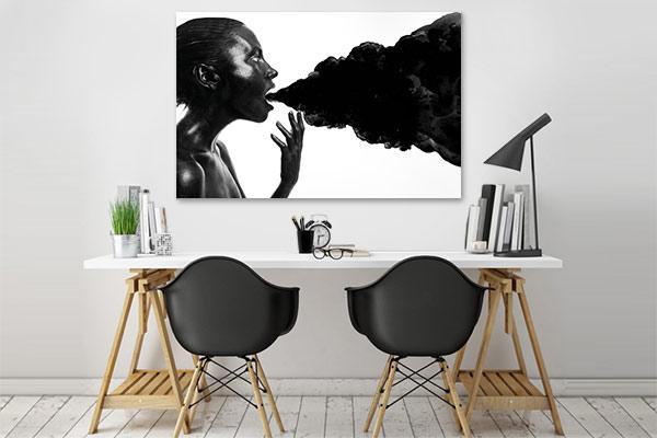 tableau design noir et blanc femme