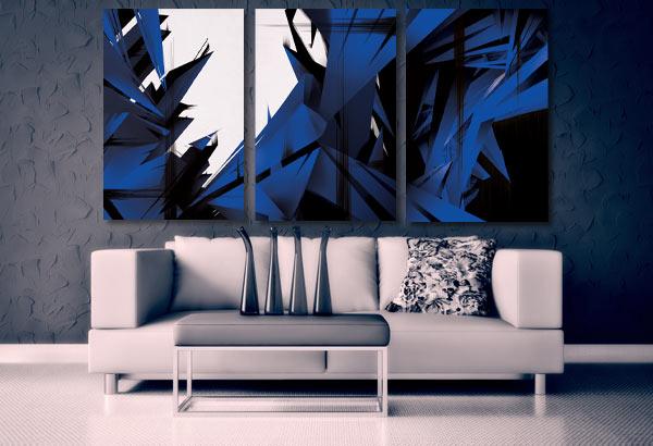 triptyque design motif abstrait izoa