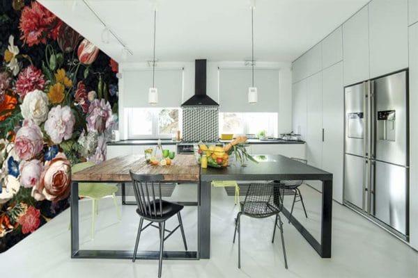 tapisserie-murale fleurie-pour-cuisine-design