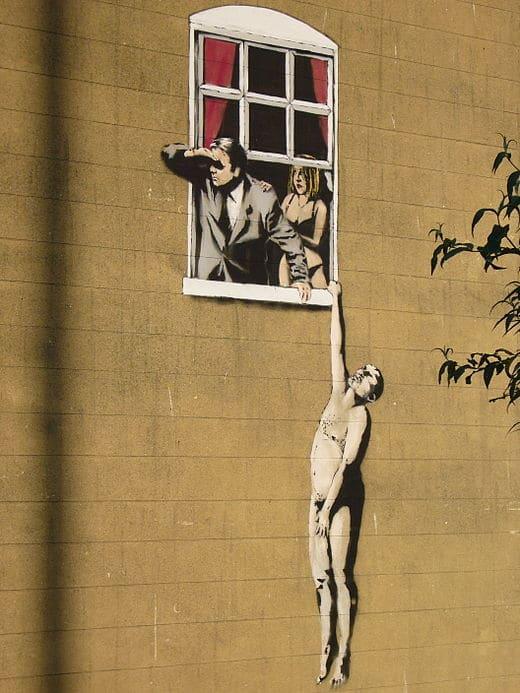 """Naked Man"" par Banksy, Bristol - 2006"