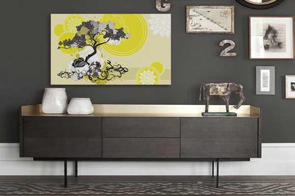 Toile zen sur mur gris