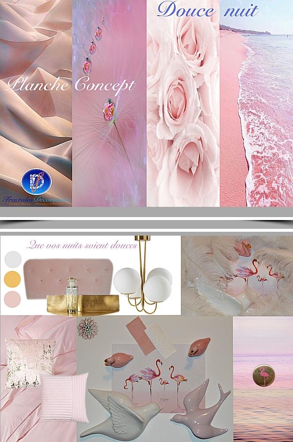 planche de tendance décoration chambre rose fractales décoration