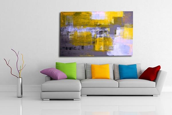 Tableau en toile abstrait jaune
