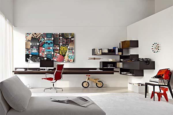 décoration chambre ado toile skates