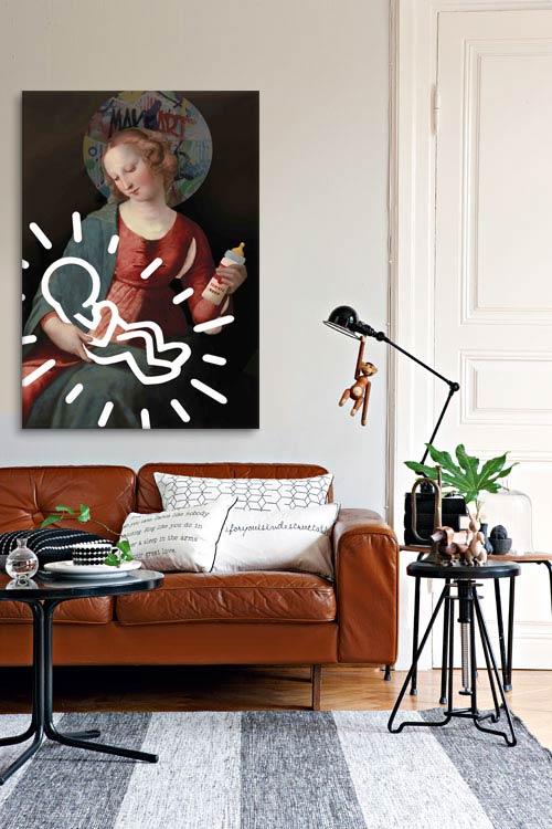déco salon style industriel vintage avec tableau connu Izoa