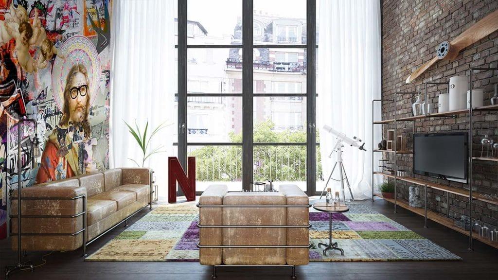 déco salon style industriel avec canapé vintage
