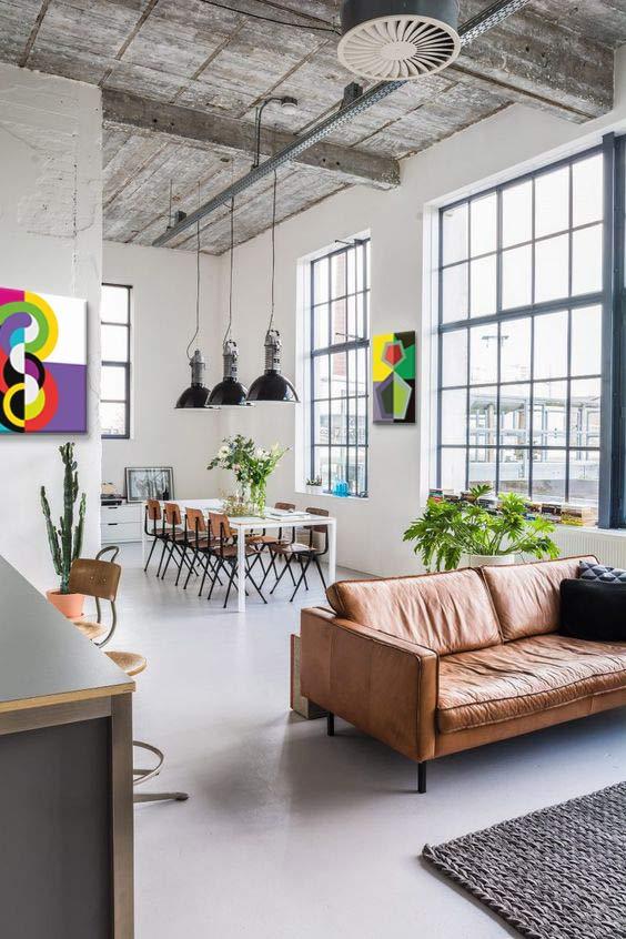 tableaux abstraits Izoa pour déco salon style industriel