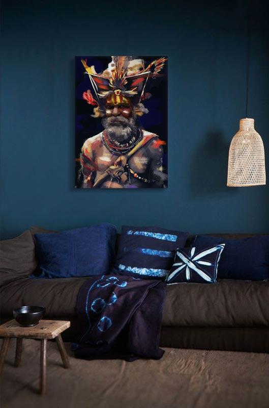 tableau-africain-shaman-deco-salon-bleu