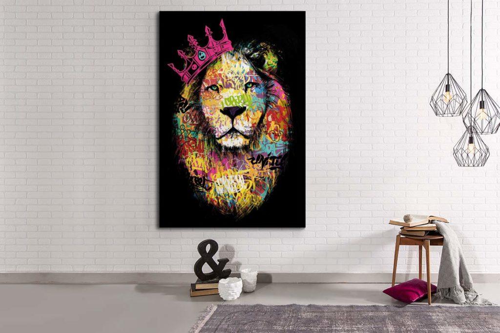 Tableau géant lion rose