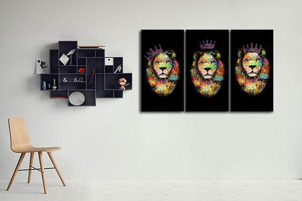 Toile triptyque moderne lion violet