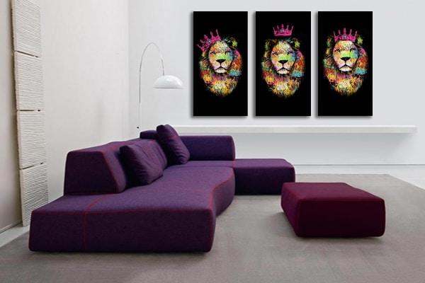 cadre triptyque lion violet izoa